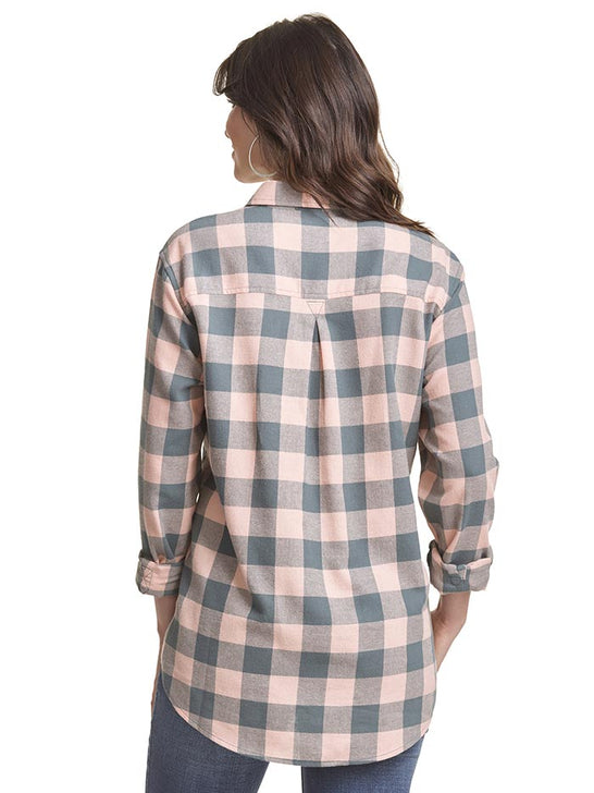 Wrangler LW8053M Womens Flannel LS Straight Back Yoke Dark Slate Back