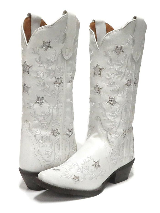 "Laredo Womens 12"" Lucky Star White Cowgirl Boot 52111 Pair"