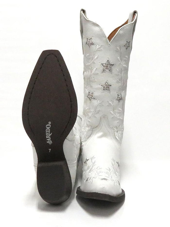 "Laredo Womens 12"" Lucky Star White Cowgirl Boot 52111 Sole"