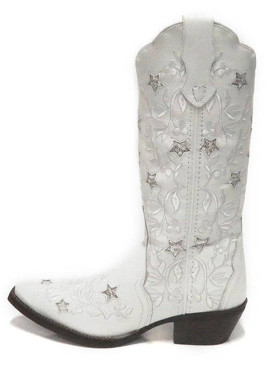 "Laredo Womens 12"" Lucky Star White Cowgirl Boot 52111 Side"
