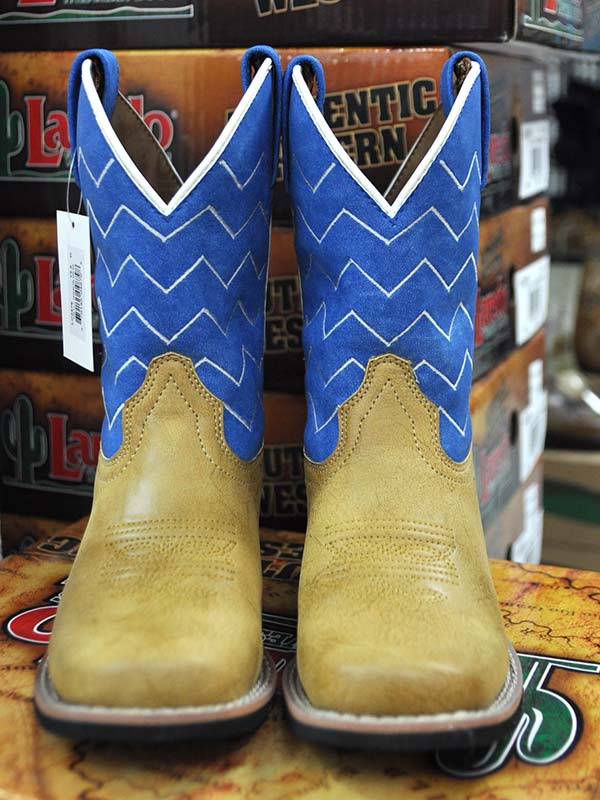 Laredo LC2476 Kids Denim Leather Western Boots Tan Blue
