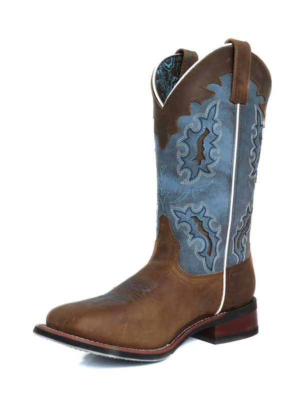 Laredo Womens Isla Tan Blue Square Toe Cowgirl Boots 5666
