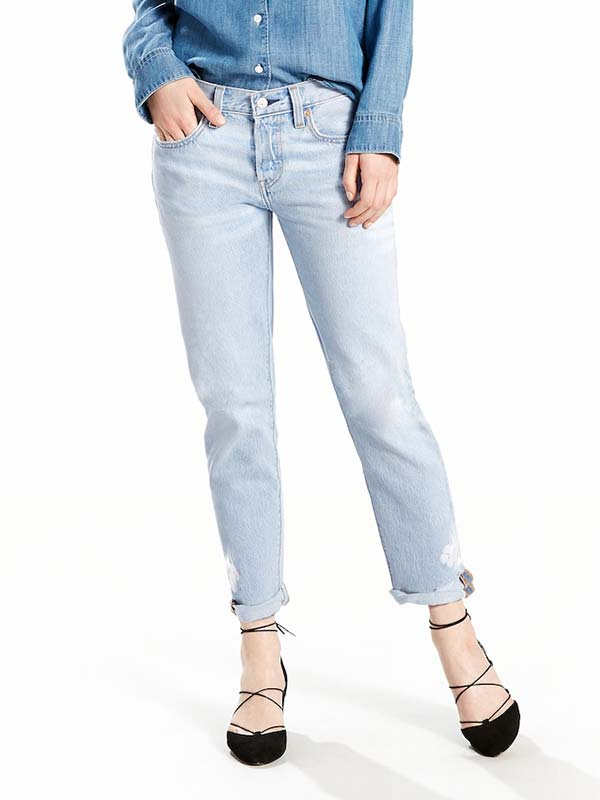 Levi's 501 Womens Crop Tapered Jeans 361900006 Light Blue