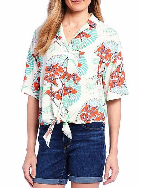 Levis Womens Clover Tropical Floral Print Button Front Shirt 689830003 Front