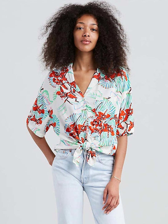 Levis Womens Clover Tropical Floral Print Button Front Shirt 689830003 Front View