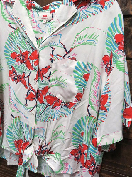 Levis Womens Clover Tropical Floral Print Button Front Shirt 689830003