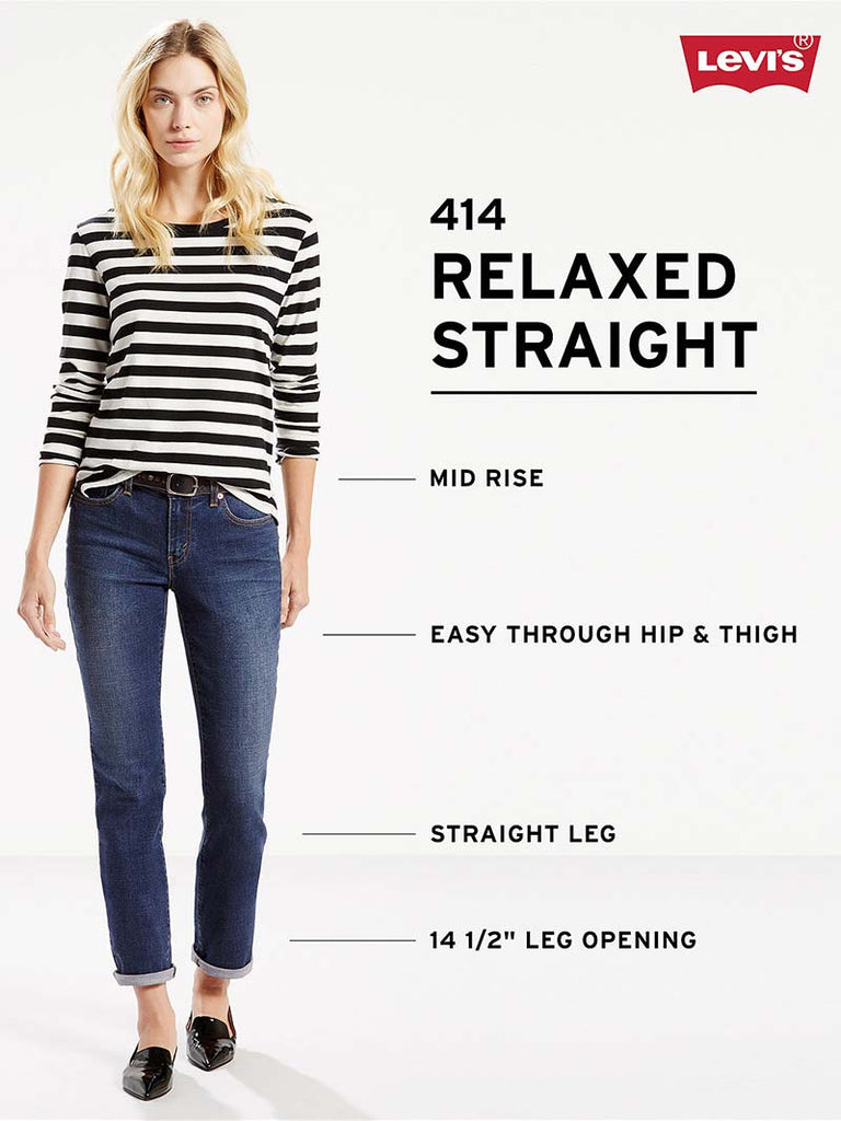 75d37da653b ... Levi's Womens 414 Relaxed Straight Fit Coastal Ridge Jeans 198890005  (D) Levis - J.C.