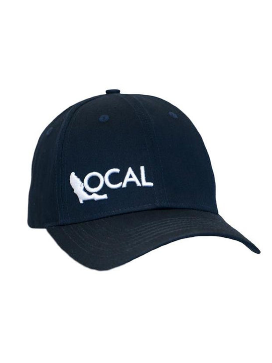 Local Embroidered Navy Semi-Curve Bill Hat front view