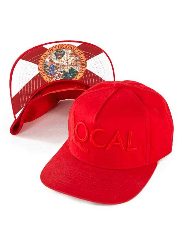 Local Mens Florida Flag Red Embroidered Local logo Cap