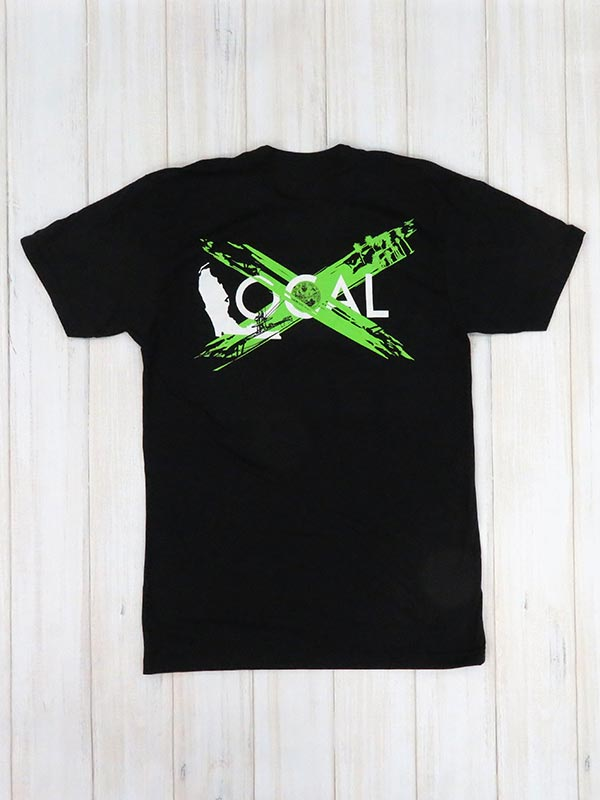 Local Mens Green Heritage Short Sleeve Black T-Shirt back