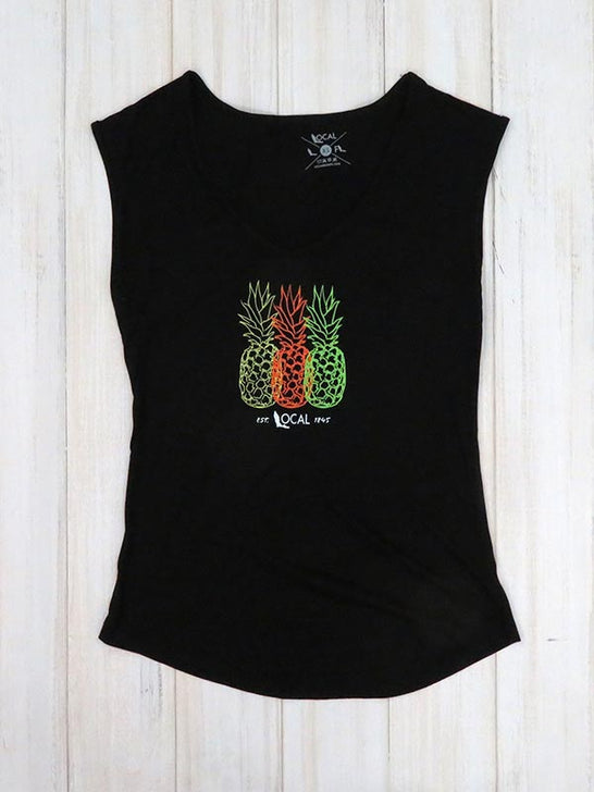 Local Womens Piña Sleeveless Black Tank Top on display