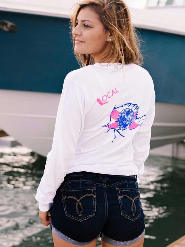 Local Womens Frenzy Long Sleeve White Tee
