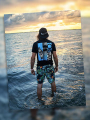 Local Mens Wood Plank Short Sleeve Black T-Shirt at the sea