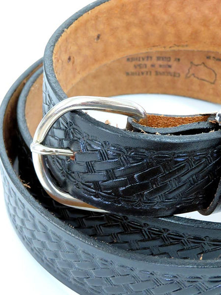 Looper Mens Basketweave Embossed Large Size Western Belt 1989 Black