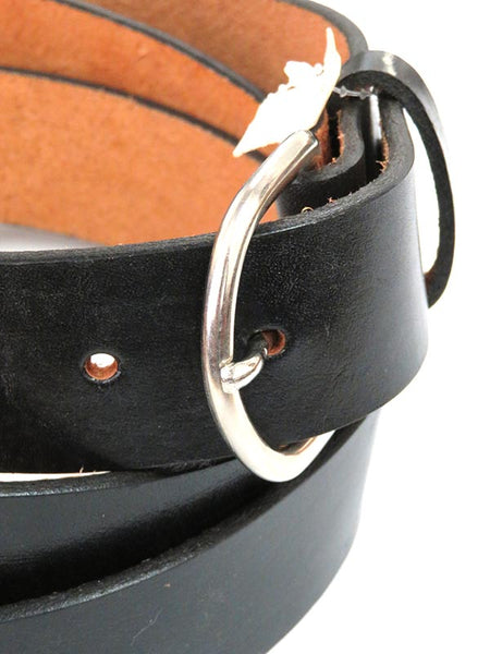 Looper Mens Plain Black Workwear Large Size Leather Belt 5296
