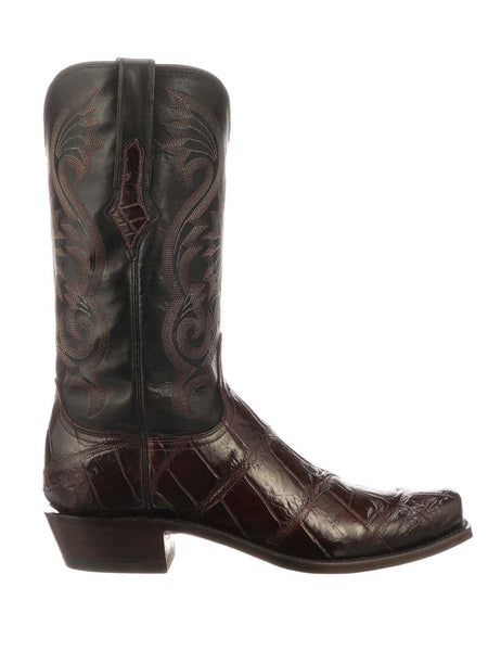 Lucchese Mens Black Cherry Authentic Giant Gator Cowboy Boot N1186.73