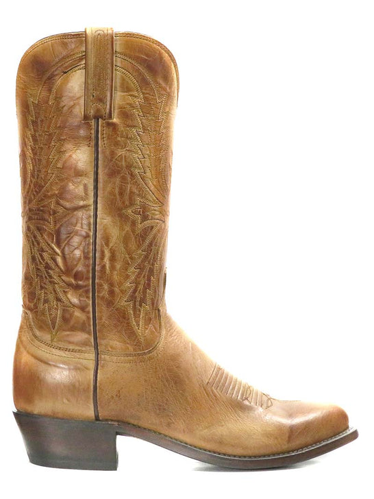 Lucchese Mens Crayton Tan Burnished Mad Goat Cowboy Boot N1547.R4