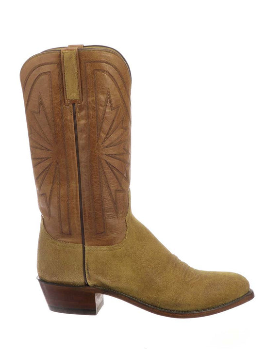 Lucchese Mens Hobbs Sand Comanche Suede Cowboy Boot N1695.R3