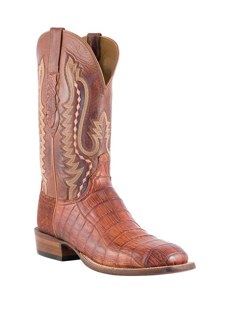 3d14a9ef68a Men's Lucchese 1883 Cognac Burnished Caiman Tail Boots CL1061