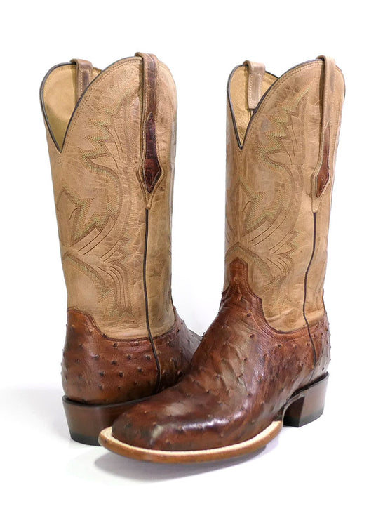 Lucchese CL1118.W8 Mens Cliff Ostrich Horseman Cowboy Boot Chocolate Tan Pair View