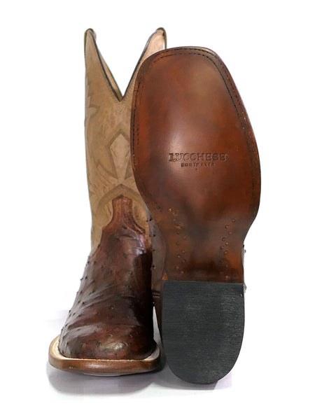 Lucchese CL1118.W8 Mens Cliff Ostrich Horseman Cowboy Boot Chocolate Tan Sole View