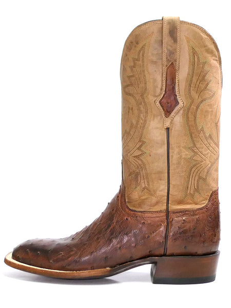 Lucchese CL1118.W8 Mens Cliff Ostrich Horseman Cowboy Boot Chocolate Tan Side View