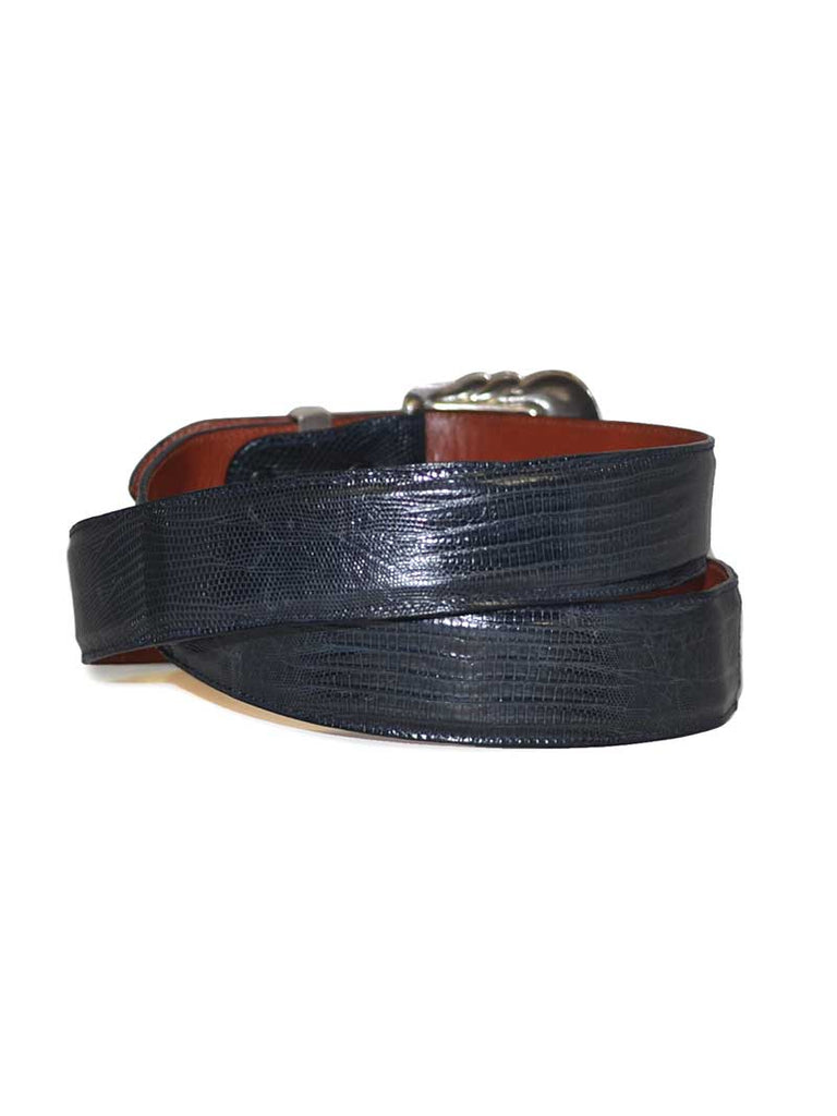 Lucchese Classics Made in USA Lizard Navy Western Belt W0398 Lucchese - J.C. Western® Wear