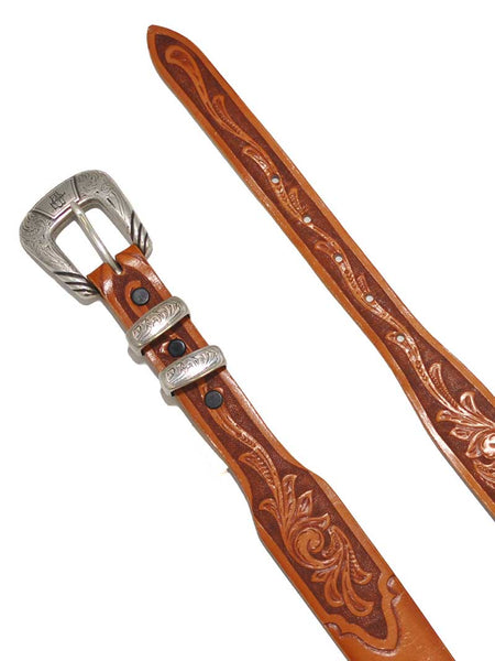 Lucchese Classics USA Made Tan Floral Tooled Western Belt W5672 Lucchese - J.C. Western® Wear