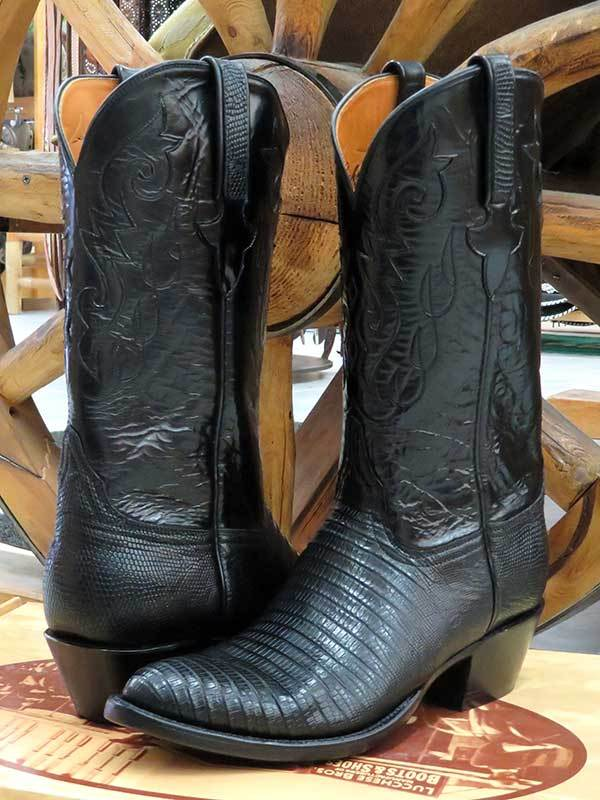 Lucchese G9030.24 Mens Classics Lizard Handmade Cowboy Boots Black made in USA
