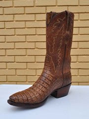 Mens Lucchese Classics Hornback Caiman Skin Tan Burnished Boots GA9034.54