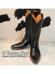 Womens Lucchese Classic Black Calf Skin Cowgirl Boots GA9869.54