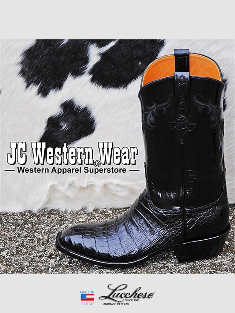 Men's Lucchese Classics Ultra Caiman Belly Skin Black Boots GC9613.13