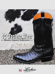 Mens Lucchese Classics Ultra Caiman Belly Skin Black Boots GC9613.13