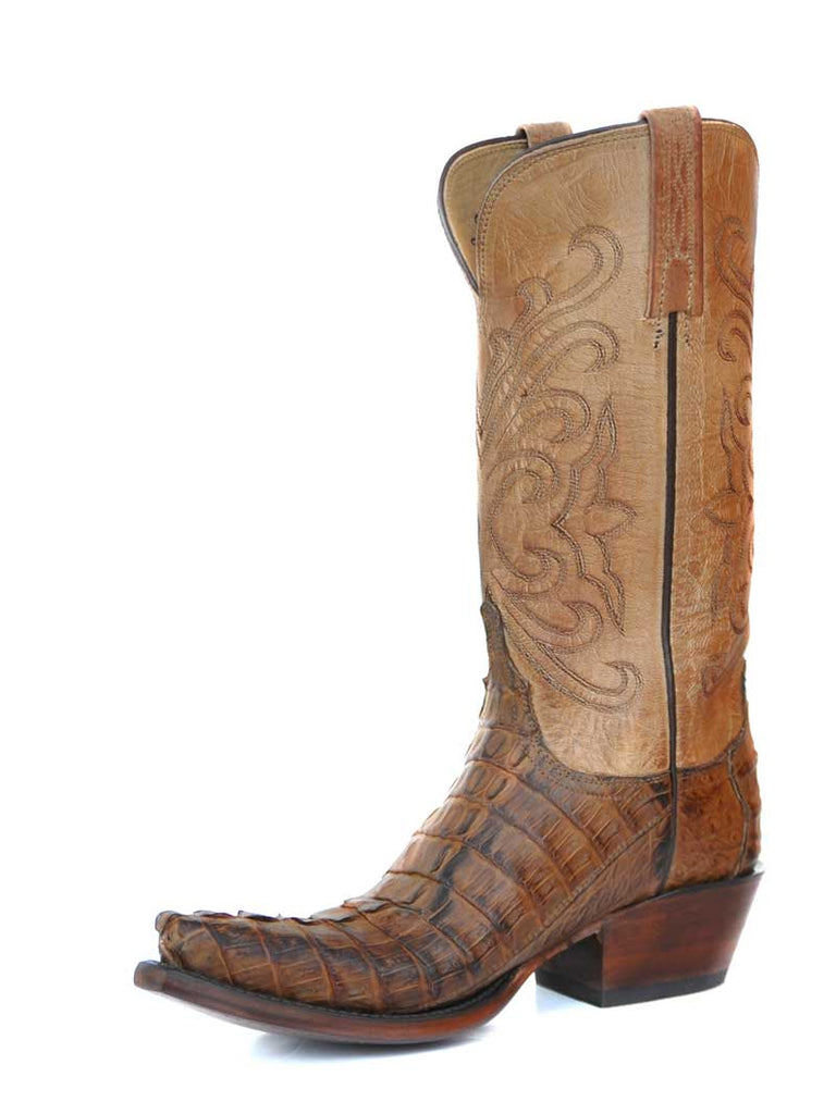 9a681ada9c7 Lucchese Womens Tan Hornback Jacare Caiman Tail Western Boots HL4001