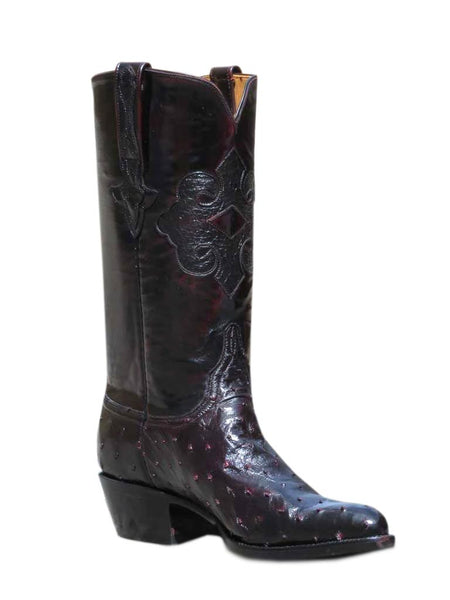 Lucchese Classic Mens Black Cherry Quill Ostrich Western Boots L1182 24