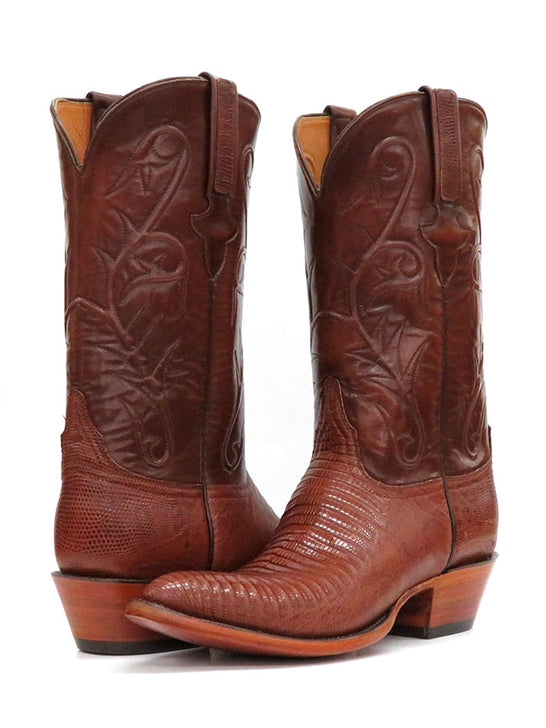 Lucchese L1218.24 Mens Classic Peanut Brittle Lizard Cowboy Boot Tan Pair at JC Western Wear
