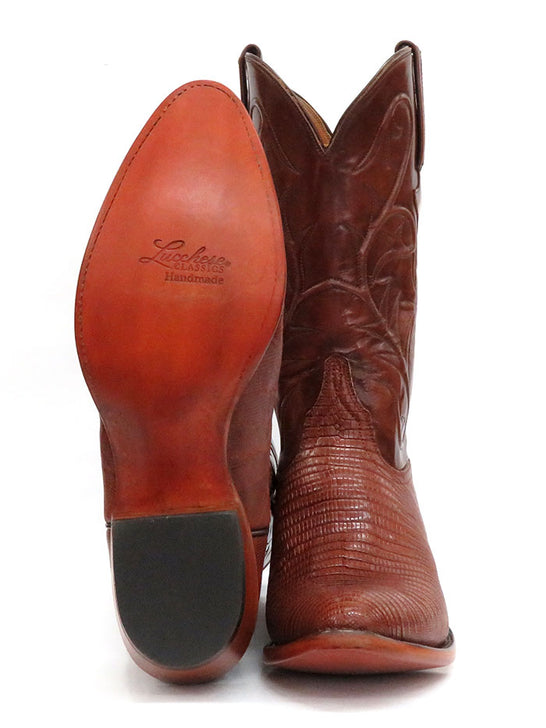 Lucchese L1218.24 Mens Classic Peanut Brittle Lizard Cowboy Boot Tan Sole and Front