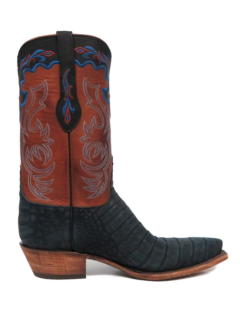 Men's Lucchese Classics Navy Suede Belly Caiman Cowboy Boots L1434.54
