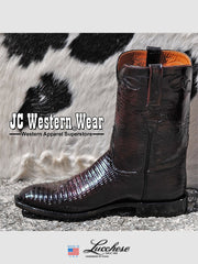 Mens Lucchese Classics Lizard Skin Black Cherry Boots L3104