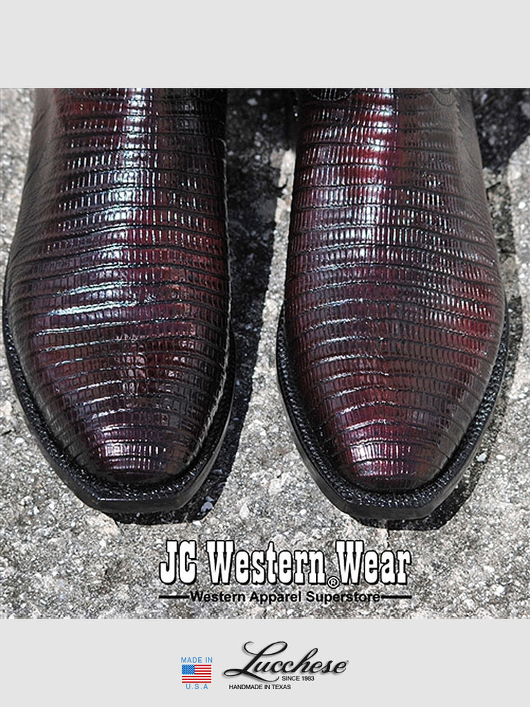 Men's Lucchese Classics Lizard Skin Black Cherry Boots L3104