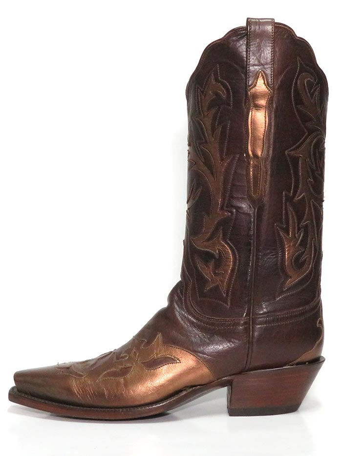 Lucchese L4703.54 Womens Baby Buffalo Wingtip Boots Champagne Burnished front