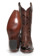 Lucchese L4703.54 Womens Baby Buffalo Wingtip Boots Whiskey Burnished Front and SOle