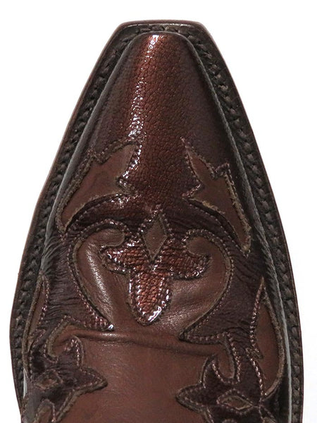 Lucchese L4703.54 Womens Baby Buffalo Wingtip Boots Whiskey Burnished Toe