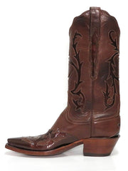 Lucchese L4703.54 Womens Baby Buffalo Wingtip Boots Whiskey Burnished Side