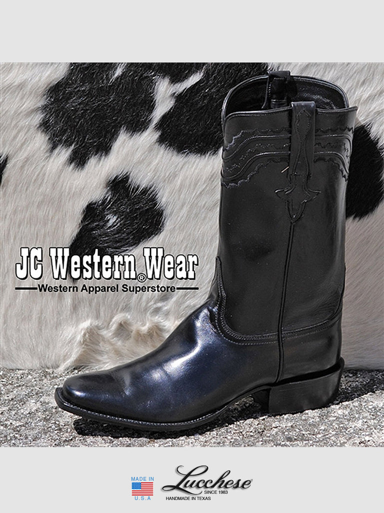 Men's Lucchese Classics Black Calf Skin Western Cowboy Boots L9500.K8