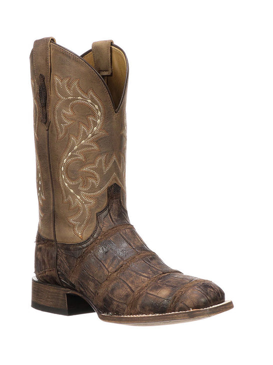 Lucchese Mens Malcolm Chocolate Giant Gator Square Toe Boot M4343 Front quarter