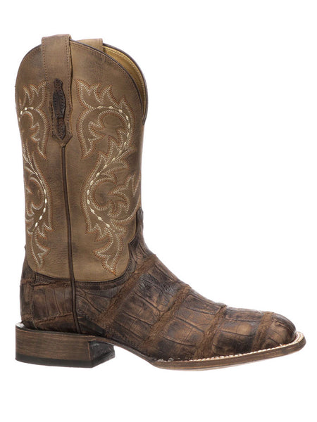 Lucchese Mens Malcolm Chocolate Giant Gator Square Toe Boot M4343 Side