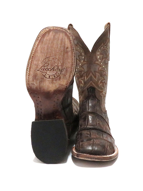 Lucchese Mens Malcolm Chocolate Giant Gator Square Toe Boot M4343 Sole and Front