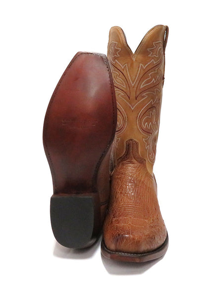 Lucchese Mens Nathan Smooth Ostrich Barnwood Cowboy Boots N1160.74 Sole and Front
