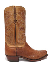 Lucchese Mens Nathan Smooth Ostrich Barnwood Cowboy Boots N1160.74 Side Image